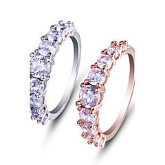 cheap Rings-Women's Ring Engagement Ring AAA Cubic Zirconia Fashion Simple Style Elegant Rose Gold Platinum Cubic Zirconia Round Jewelry Wedding