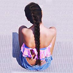 tanie Peruki syntetyczne-Syntetyczne koronkowe peruki Prosto Yaki Z baby hair Naturalna linia włosów Gęstość Część L Damskie Czarny Karnawałowa Wig Halloween Wig