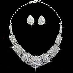 ジュエリーセット ラインストーン 正方形 高級ジュエリー ラインストーン 合金 スクエア 1×ネックレス 1×イヤリング(ペア) のために 結婚式 パーティー 誕生日 1セット ウェディングギフト