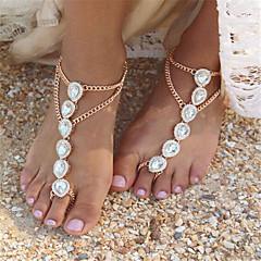 Pentru femei Perle Sandale Desculț Imitație de Perle Picătură femei Modă Brățară Gleznă Bijuterii Auriu / Argintiu Pentru Zilnic Casual / Ștras