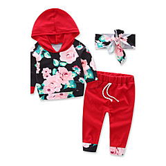 billige Tøjsæt til piger-Baby Pige Blomster / Pænt tøj Blomstret / Sport / Mode Langærmet Normal Normal Bomuld Tøjsæt Vin 100
