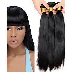 お買い得  ヘアエクステンション-ペルービアンヘア / バンドル ストレート バージンヘア / 人毛 人間の髪編む 6バンドル 8-26インチ 人間の髪織り ホット販売 ブラック