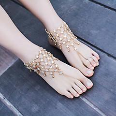 tanie Piercing-Sandały Barefoot - Damskie Gold Silver Łańcuszek na kostkę Na Na co dzień Casual Outdoor oděvy Codzienne Wyjściowe