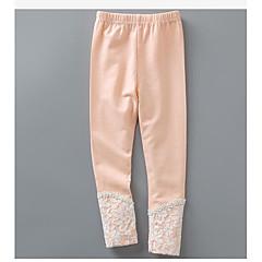 billige Bukser og leggings til piger-Pige Bukser Ensfarvet, Bomuld Vinter Forår Blonde Orange Grå Gul