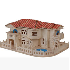 cheap -3D Puzzles Jigsaw Puzzle Wooden Puzzles Wood Model Model Building Kit Famous buildings House Architecture Other 3D DIY Wood Natural Wood