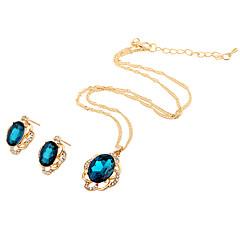 baratos Conjuntos de Bijuteria-Mulheres Conjunto de jóias - Strass Flor Punk, Rock, Fashion Incluir Colar Azul Escuro / Verde / Azul Para Dia a Dia / Encontro / Festa de aniversário