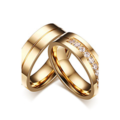 cheap Rings-Couple's Couple Rings AAA Cubic Zirconia Gold Cubic Zirconia Titanium Steel Circle Classic Elegant Simple Style Wedding Party Evening