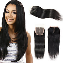 cheap Wigs & Hair Pieces-Febay Brazilian Hair 4x4 Closure Straight Free Part / Middle Part / 3 Part Swiss Lace Remy Human Hair Women's Daily
