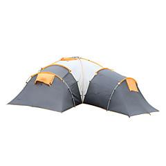 5-8 osob Stříška Dvojitý Camping Tent tři pokoje Rodinné stany Voděodolný Větruvzdorné Odolný vůči UV záření Odolné vůči dešti Skládací