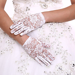 cheap Party Gloves-Lace Wrist Length Glove Flower Girl Gloves With Rhinestone