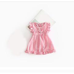 billige Babykjoler-Baby Pigens Kjole Afslappet I-byen-tøj Formelt Ferie Helfarve, Bomuld Kortærmet Lyserød