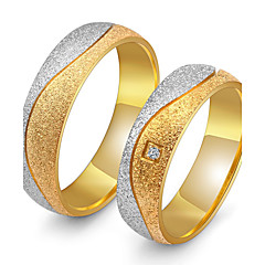 cheap Rings-Couple's Couple Rings AAA Cubic Zirconia Gold Cubic Zirconia Titanium Steel Round Vintage Elegant Wedding Anniversary Party Evening