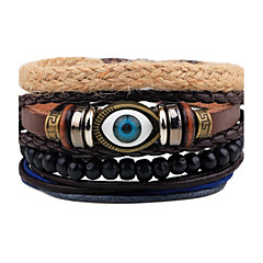 cheap -Men's Leather Bracelet Strand Bracelet Wrap Bracelet Handmade Punk Adjustable Personalized Leather Wood Round Evil Eye Jewelry For Gift