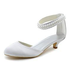 olcso -Női Esküvői cipők Magasított talpú Streccs szatén Tavasz Ősz Ruha Party és Estélyi Gyöngy Cicasarok Fehér 1 inch-1 3 / 4 inch
