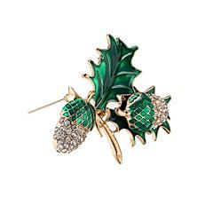 billige Motebrosjer-Herre Dame Nåler Syntetisk Diamant Klassisk Hypoallergenisk Mote Legering Blad Formet Grønn Smykker Til Jul Fest Bursdag Gave Seremoni