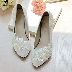 cheap Wedding Shoes-Women's Wedding Shoes Slingback Spring Fall Lace Leatherette Wedding Dress Party & Evening Office & Career Applique Imitation Pearl Flower
