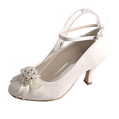 Damă pantofi de nunta Balerini Basic Satin Elastic Primăvară Toamnă Nuntă Party & Seară Cristal Perle Toc Stiletto Alb Cristal 5 - 7 cm