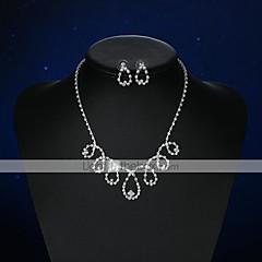 baratos Conjuntos de Bijuteria-Mulheres Cristal Conjunto de jóias - Cristal, Prata Chapeada Caído Básico Incluir Brincos Curtos Colar Prata Para Casamento Festa Cerimônia