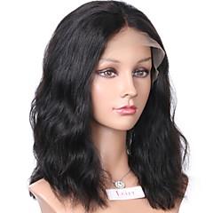 levne Paruky z přírodních vlasů-Přírodní vlasy Se síťovanou přední částí Paruka Vlnitá Přírodní vlny 130% Hustota 100% ručně vázaná Afroamerická paruka Přírodní vlasová