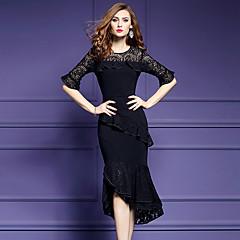 Damen Hülle Kleid-Ausgehen Übergröße Street Schick Solide Patchwork Rundhalsausschnitt Midi Asymmetrisch Halbe Ärmel Polyester Elasthan