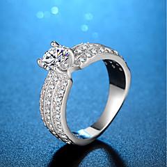Mulheres Anéis Grossos Zircônia cúbica Moda Clássico Elegant Zircônia Cubica Formato Circular Jóias Para Casamento Noivado Diário