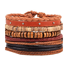 cheap -Men's Leather Bracelet Strand Bracelet Wrap Bracelet Handmade Fashion Adjustable Personalized DIY Leather Wood Round Jewelry For Casual