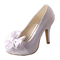 Women's Wedding Shoes Basic Pump Stretch Satin Spring Summer Wedding Dress Bowknot Stiletto Heel White 4in-4 3/4in