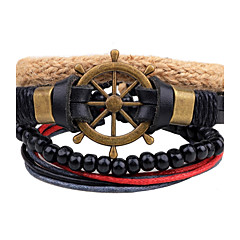 cheap Men's Bracelets-Men's Strand Bracelet Wrap Bracelet Leather Bracelet - Leather, Wood Anchor Personalized Bracelet Jewelry Black For Casual Stage Street Going out Club