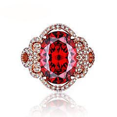 Dames Bandringen Synthetische Ruby Vintage Luxe Sieraden Elegant Goud Rose Bloemvorm Sieraden Voor Bruiloft Verloving Ceremonie