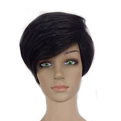 billiga Peruker och hårförlängning-Syntetiska peruker Rak / Afro Pixie-frisyr Syntetiskt hår Svart Peruk Dam Korta Naturlig peruk Utan lock