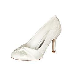 Feminino Sapatos De Casamento Plataforma Básica Cetim com Stretch Primavera Outono Casamento Festas & Noite Laço Salto Agulha Ivory7,5 a