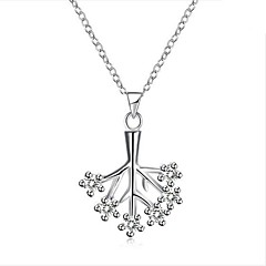 Halsband-Dam Zircon Silver Hänge Halsband - Zircon Silver Personlig Geometrisk Klassisk Mode Halsband Till Bröllop Nyfött Barn Gåva Kvällsfest