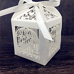 Cubic Pearl Paper Favor Holder With Ribbons Favor Boxes-50 Wedding Favors