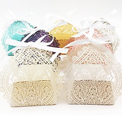 cheap Favor Holders-Oval Pearl Paper Favor Holder with Ribbons Favor Boxes - 50
