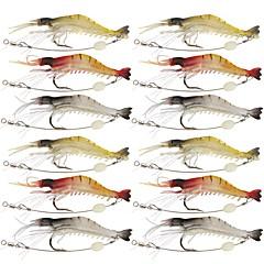 cheap Fishing Lures & Flies-12 pcs Fishing Lures Craws / Shrimp Jerkbaits Soft Bait Silicone Silicon Luminous Sea Fishing Fly Fishing Bait Casting Ice Fishing