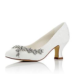 baratos Sapatos de Casamento-Mulheres Sapatos Cetim Outono / Inverno Conforto Saltos Salto Robusto Ponta Redonda Corrente para Casamento / Festas & Noite Ivory