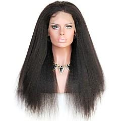 billiga Peruker och hårförlängning-Remy-hår Spetsfront Peruk Rak / Kinky Rakt 150% / 180% Densitet Naturlig hårlinje / Afro-amerikansk peruk / 100 % handbundet Dam Mellan / Lång Äkta peruker med hätta
