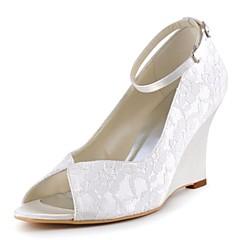 Damă pantofi de nunta Balerini Basic Satin Elastic Primăvară Vară Nuntă Party & Seară Cataramă Toc Pană Alb Albastru Închis Cristal7.5 -