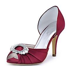 Dame bryllup sko Basispumps Strekksateng Vår Sommer Bryllup Fest/aften Krystall Stiletthæl Fuksia Grønn Blå Burgunder Krystall7,5 - 9,5