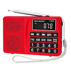 Χαμηλού Κόστους Ράδιο-Y-916 FM / AM Φορητό ραδιόφωνο MP3 player Κάρτα TF Παγκόσμιος δέκτης Ασημί / Κόκκινο / Μπλε