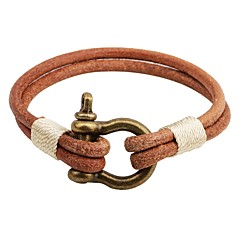 cheap -Men's Women's Leather Bracelet Vintage Personalized Leather Alloy Round Button Jewelry For Casual Going out