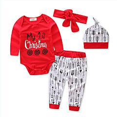 billige Tøjsæt til piger-Baby Pige Blomster / Pænt tøj Geometrisk Trykt mønster Langærmet Normal Normal Bomuld / Polyester Tøjsæt Rød