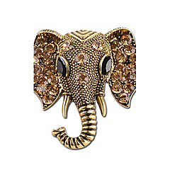 cheap Brooches-Men's Women's Brooches Rhinestone Personalized Animal Design Rhinestone Silver Plated Elephant Jewelry For Gift Stage