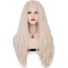 cheap Wigs & Hair Pieces-Synthetic Lace Front Wig Women's Loose Wave Blonde Synthetic Hair Middle Part Sew in / 100% kanekalon hair Blonde Wig Long Lace Front Silver