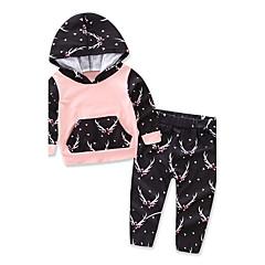 billige Tøjsæt til piger-Baby Pige Blomster / Pænt tøj Galakse Langærmet Bomuld Tøjsæt