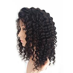 billiga Peruker och hårförlängning-Äkta hår Spetsfront Peruk Brasilianskt hår Kinky Curly 130% Densitet Afro-amerikansk peruk / 100 % handbundet Mellan Dam Äkta peruker med