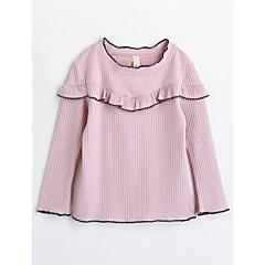 tanie Odzież dla dziewczynek-Brzdąc Dla dziewczynek Solidne kolory Długi rękaw Bawełna T-shirt Rumiany róż 100