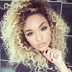 cheap Wigs & Hair Pieces-Human Hair Lace Front Wig Brazilian Hair Curly Wig Layered Haircut Free Part 130% Density with Baby Hair Ombre Hair Natural Hairline For Black Women 100% Virgin Two Tone Women's Short Medium Length