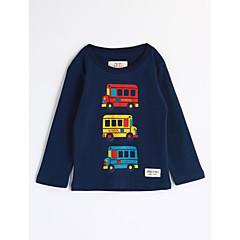 baratos Roupas de Meninos-Para Meninos Blusa Desenho Animado Outono Algodão Manga Longa Desenho Azul Marinha