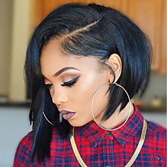 cheap Human Hair Wigs-Human Hair Full Lace Wig Brazilian Hair Straight Asymmetrical Haircut With Baby Hair Glueless Natural Hairline Short 130% Density Women's